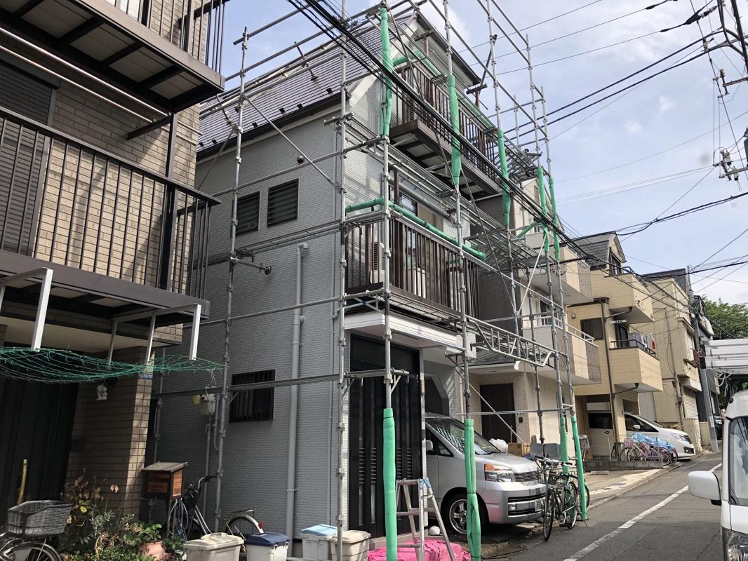 品川区のY様邸3階建て屋根外壁塗装工事