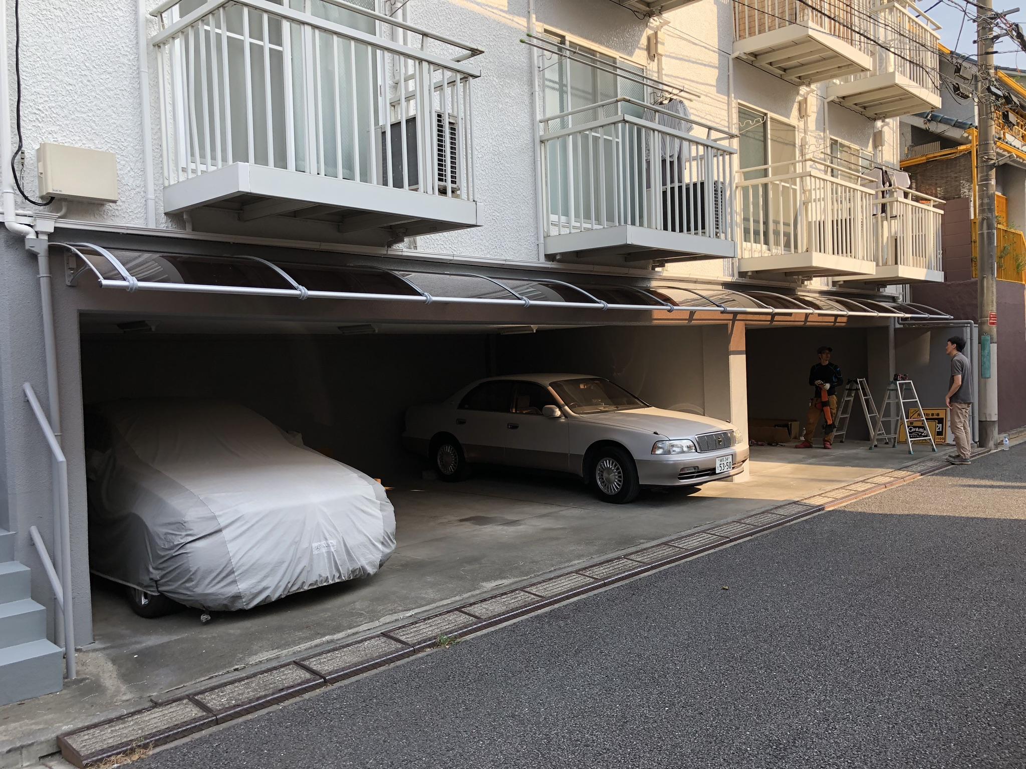 中野区のKアパートA棟B棟屋根外壁塗装・庇/ポスト/バイク置場改修工事