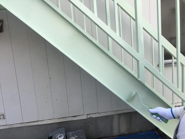草加市企業様 外階段鉄部塗装工事
